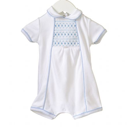 White Smocked Shortie Romper